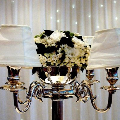 CANDELABRA WITH ORGANZA SHADES